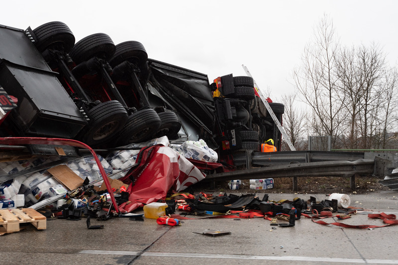 Enns, Upper Austria, Austria March : Large Truck Flippe
